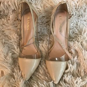 Transparent beige pointed toe heels !